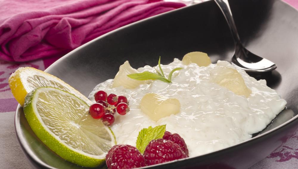 Arroz con leche y gelatina de cítricos