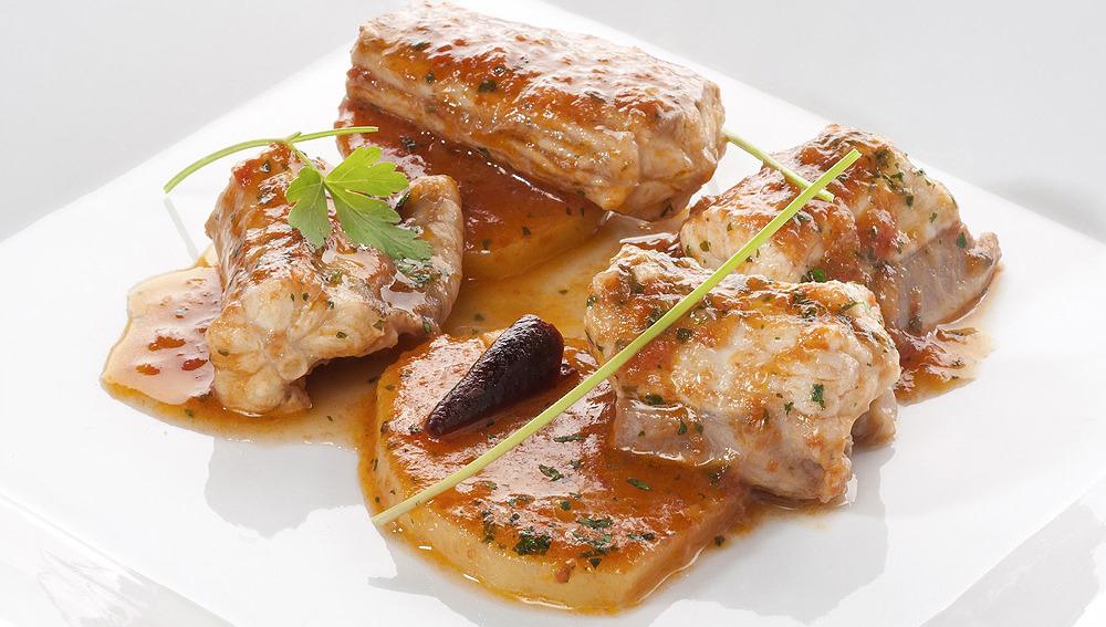 Katuarraia con patatas en salsa marinera