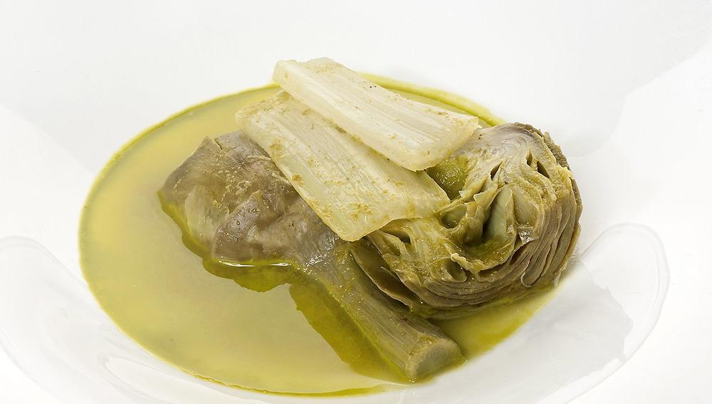 Alcachofas en caldo dulce de acelga