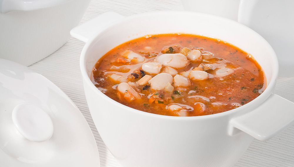 Sopa de mejillones con alubias