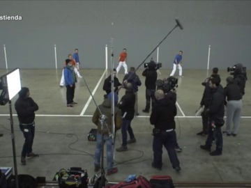 Así se grabó la escena del frontón de 'Allí Abajo'